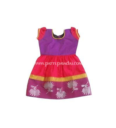 New Born Silk Frock Violet and Pink