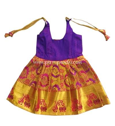 New Born Violet and Golden Silk Frock