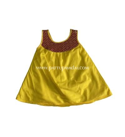 New Born Yellow and Red Silk Frock