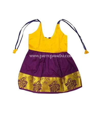 One Year Yellow and Purple Silk Frock