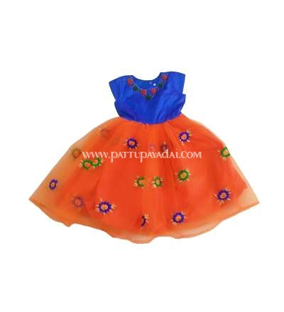 Orange and Blue Netted Frock