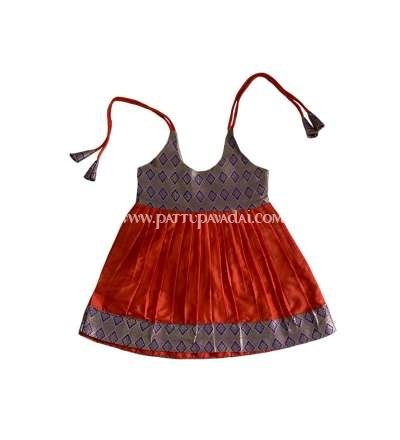 Orange and Blue Silk Frock