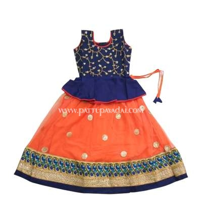 Orange and Navy Blue Grand Netted Skirt and Designer Top