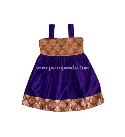 Orange and Violet Pure Silk Frock