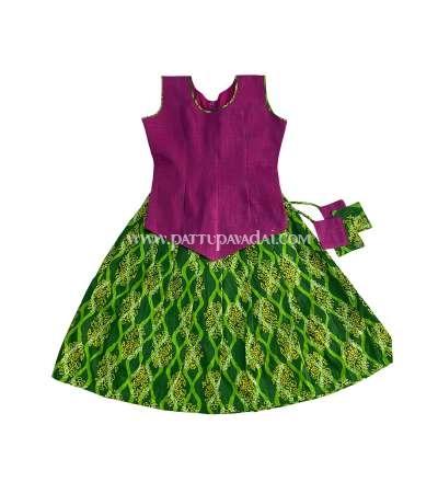 Parrot Green and Magenta Cotton Pavadai Set