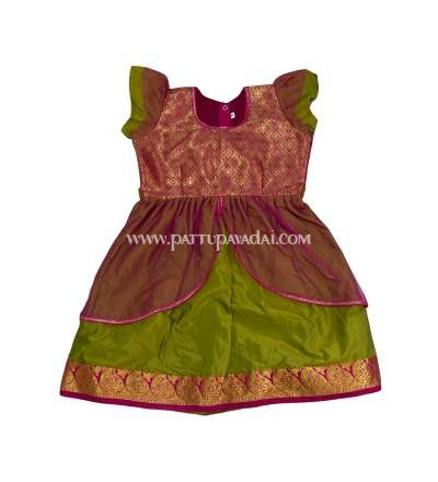 Parrot Green and Pink Silk Frock