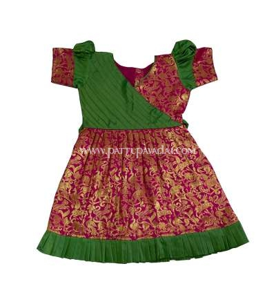 Pattu Frock Green and Pink