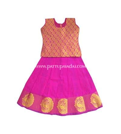 Pink and Golden Pure Silk Pavadai