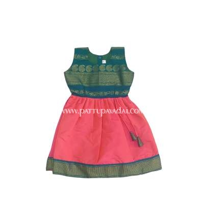 Pink and Rama Green Frock