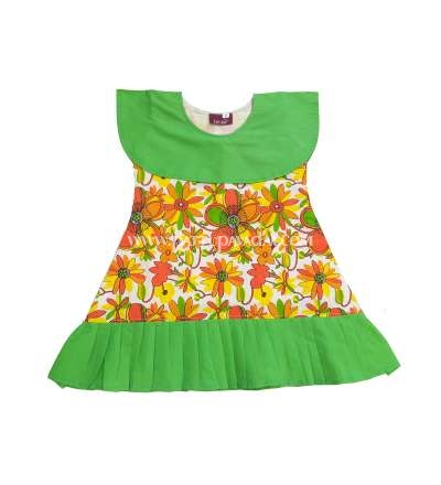 Pure Cotton Frock Green