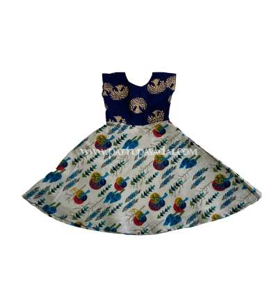 Pure Cotton Navy Blue Long Gown