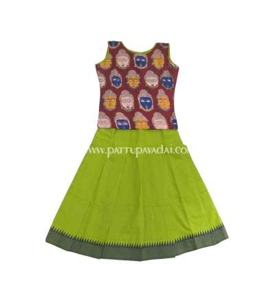 Pure Cotton Pavadai Green and Maroon