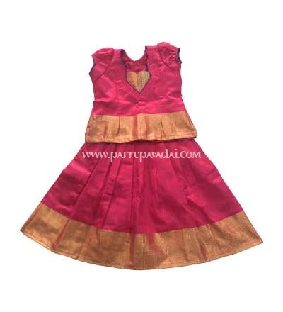 Pure raw silk pavadai pink and golden