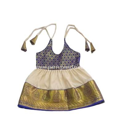 Pure Silk Kids Frock Blue and Cream