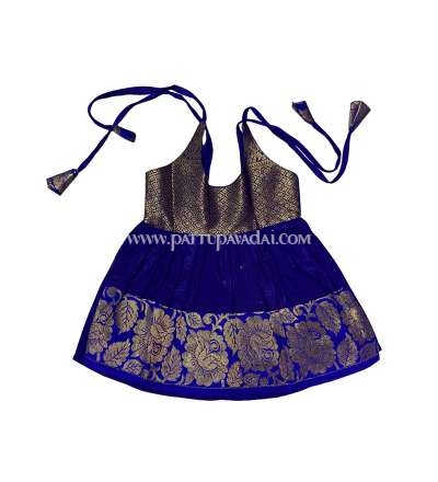 Pure Silk Frock Blue and Golden
