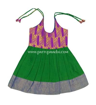 Pure Silk Frock Green and Purple