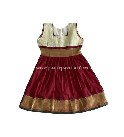 Pure Silk Frock Half White and Maroon