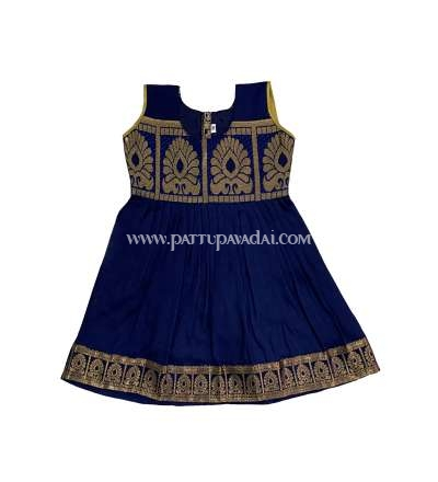 Pure Silk frock Navy Blue and Golden