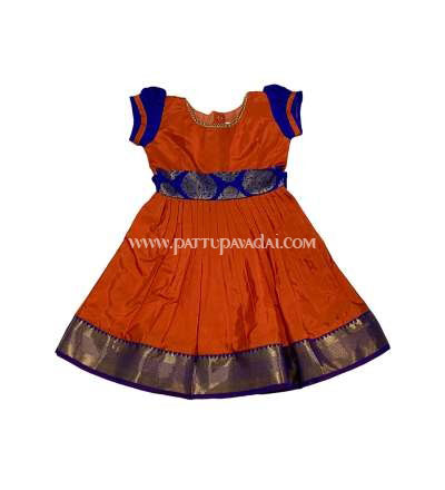 Pure Silk Frock Orange and Blue