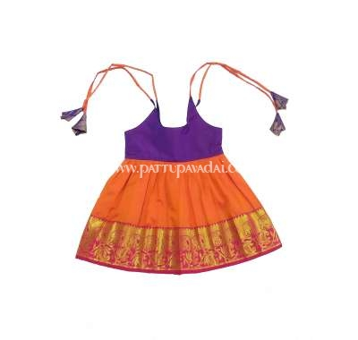 Pure Silk Frock Orange and Violet