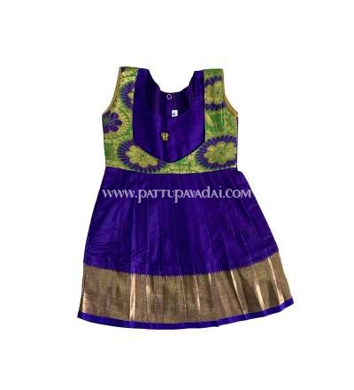 Pure Silk Frock Parrot Green and Violet