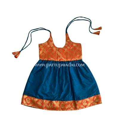 Traditional Pure Silk Frock Peacock Blue Online USA Shopping