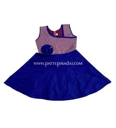 Pure Silk Frock Pink and Blue