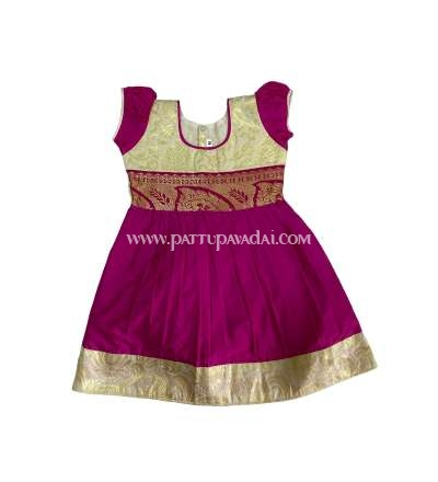 Pure Silk Frock Pink and Cream