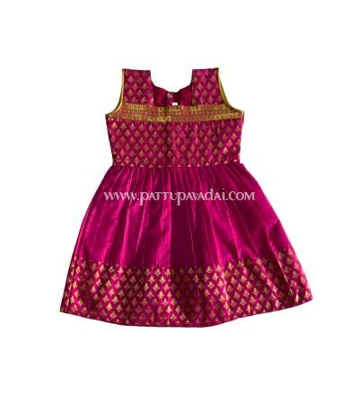 Pure Silk Frock Pink and Golden