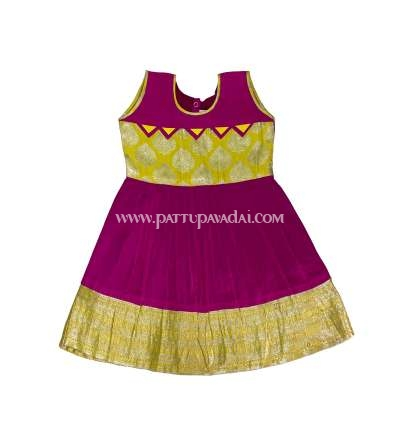 Buy Kids Pure Silk Frock Pink and Yellow