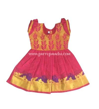 Just Born Pure Silk Frock Purple and Pink