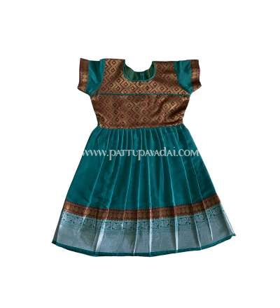 Pure Silk Frock Rama Green only at pattupavadai.com