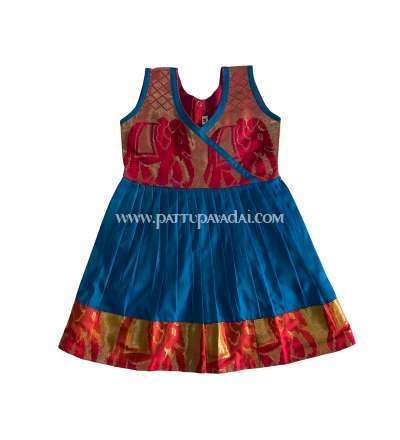 Pure Silk Frock Red and Blue