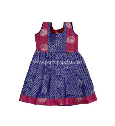 Traditional Pure Silk Frock Stripes Blue and Pink