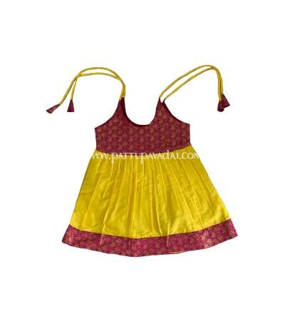 Buy Pure Silk Frock Yellow and Pink Online USA