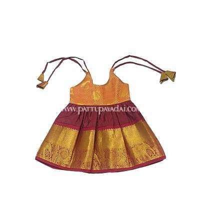 Pure Silk Just born Frock Maroon and Golden