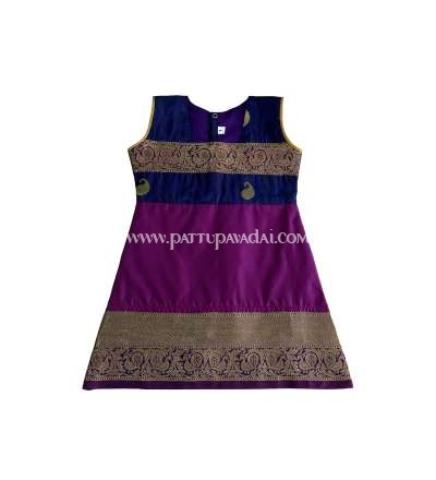 Pure Silk Kids Frock - Magenta and Golden