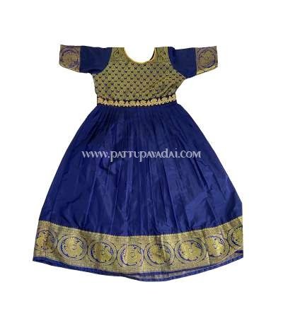Pure Silk Long Gown Navy Blue and Golden