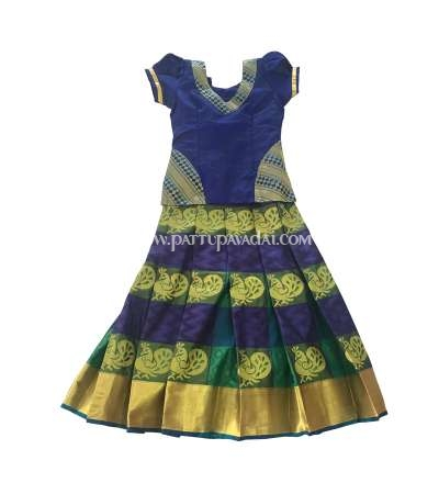 Kids Buy Pure Silk Pavadai Checked Blue and Green only at pattupavadai.com