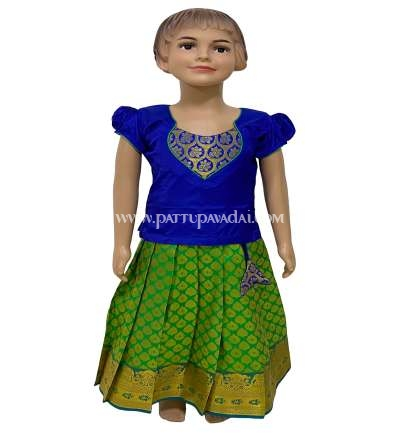 Pure Silk Pavadai Ethnic Wear Green and Blue