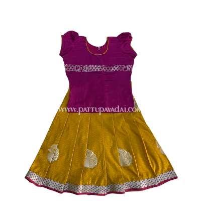 Pure Silk Pavadai for Baby Girls Mustard Yellow and Magenta
