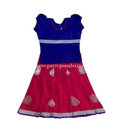 Pure Silk Pavadai for Baby Girls Pink and Blue