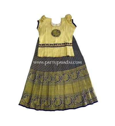 Pure Silk Pavadai Navy Blue and Cream