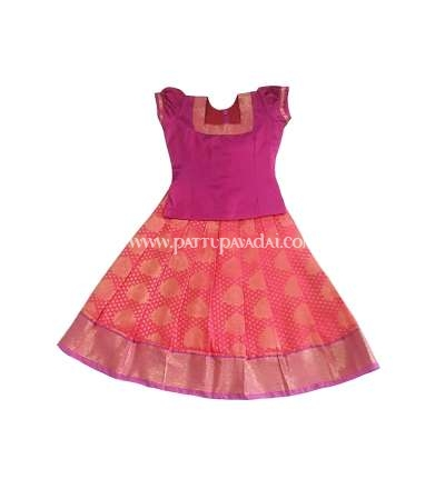 Pure Silk Pavadai Pink and Golden