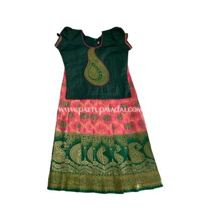Pure Silk Pavadai Pink and Green