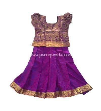 Kids Pure Silk Pavadai Purple and Golden