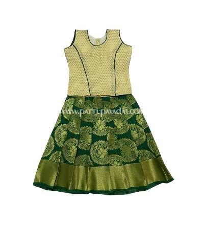 Pure Silk Pavadai Sandal and Green