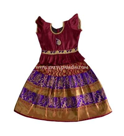 Pure Silk Pavadai Violet and Maroon