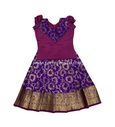 Pure Silk Pavadai Violet and Pink