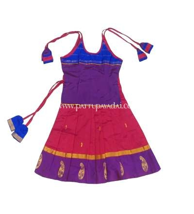 Pure Silk Pavadai Violet and Red